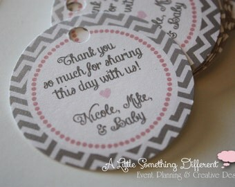 Gray and Pink Chevron Baby Shower Favor Tags, Thank You Tags,  Gift Tags, Labels, Chevron Print, Pink and Gray, Baby Girl, Wedding, Bridal