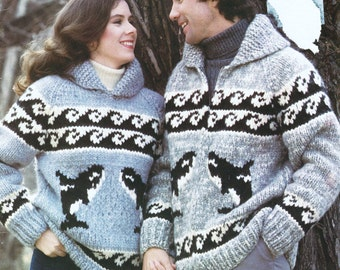 Cowichan Orca Whale Sweater Pattern 6108 Native Canadian Sweater Knitting Pattern Digital PDF