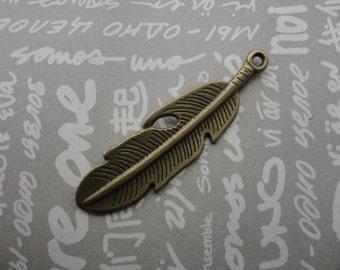 50pcs antique bronze color metal feather charm , metal feather pendant , 49X14mm , CP373
