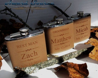 7 Groomsmen Leather Flask Set ~With Free Engraving~ 6 oz Leather Wrapped Stainless Steel Flask