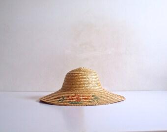 Vintage Wide Brim Asian Straw Hat, Oriental Straw Hat, Broad Brim Woven Straw Hat