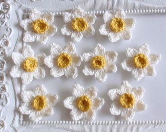 10 Crochet flowers (daffodils) applique CH-049-01