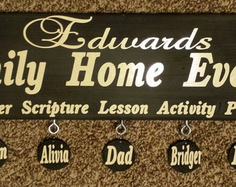 Family Home Evening Board with Vinyl Names