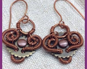 Steampunk Earrings. Steampunk Gear Earrings. Steampunk Coil Earrings. Copper Coil Earrings.