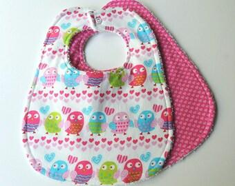 Girl Baby Bibs- Owl Baby Bibs - Pink Heart Baby Bibs-Owl Bibs, Heart Bibs, Polka Dot Bibs- Terry Cloth Bibs - Owls Bibs - Pink Owls