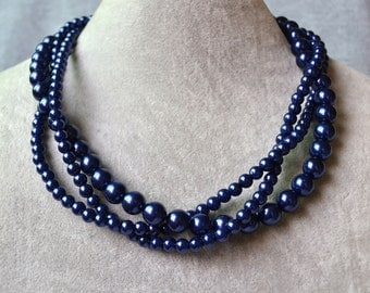 Navy Blue Pearl Necklace,Triple Strands Necklace,Wedding Necklace,Pearl Jewelry,Bridesmaid Jewelry,Wedding Party