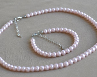 flower girl jewelryset, 6 mm Pearl sets,pearl necklace and pearl bracelet,pink pearl set,glass Pearl Necklace,bridesmaid jewelry set