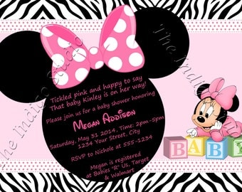 Minnie Mouse Zebra Print  Baby Shower  Invite Card - Personalized invitation you Print