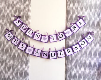 Soon To Be Mrs Banner, Purple Ribbon and Lace Details on Paper - Bridal Shower Decorations