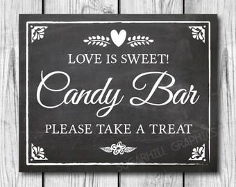 Chalkboard Wedding Sign, Printable Wedding Sign, Chalkboard Wedding Candy Bar Sign, Wedding Decor, Instant Download