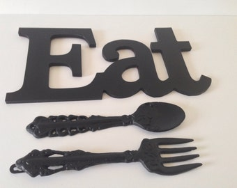Eat, fork and spoon, kitchen or dinning room decor,