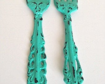 fork and spoon, kitchen or dinning room decor, shabby chic,11.5 inches cast iron