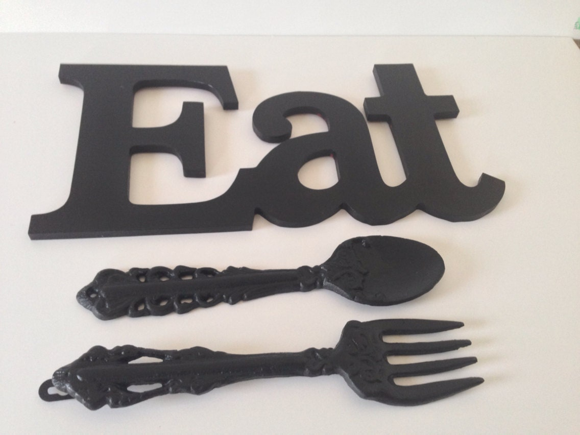 Https Www Etsy Com Listing 241641595 Eat Fork And Spoon Kitchen Or Dinning