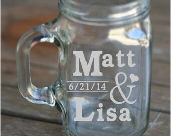 Set of 2 Etched Mason Jar Glasses