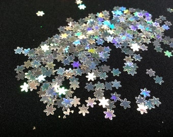 solvent-resistant glitter shapes-small silver hologram snowflakes