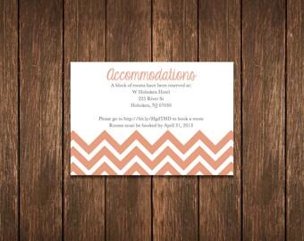 DIY Chevron Wedding Info Card - Coral Pink