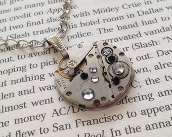 Handmade STEAMPUNK Pendant Necklace With Vintage Watch Movement, Swarovski