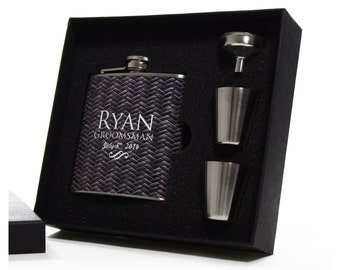 Groomsmen Gifts - 5 Personalized Herringbone Design Flask Sets