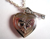 Silver Heart  Key Locket Pendant Necklace Love Cute Pretty Chain Charm