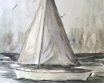 "This is a print of my original watercolor painting titled""Mystic Sail"" 5x7,8x10,11x14,16x20, wrapped canvas, note cards"