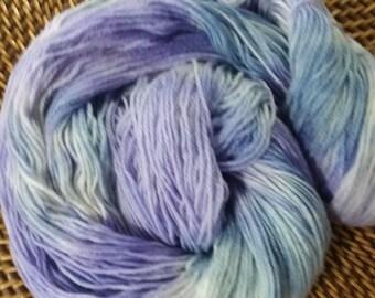 100% Superwash Merino Hand Dyed Sock Weight Yarn - Lavender and Wedgewood Blue