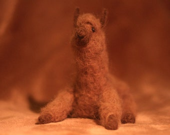 Latte the Chocolate Alpaca - Needle Felted, Poseable