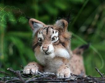 Needle Felted Lynx