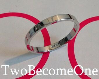 2mm Ladies 9k White Gold Flat Shape Handmade Wedding Ring / Band / 1.7g