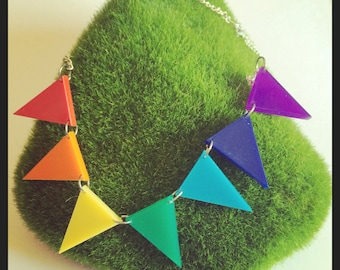 Handmade Small Rainbow Bunting Necklace