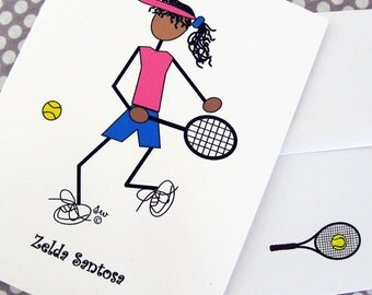 Tennis Cards, Personalized Tennis Cards - Tennis Sporty Gal with dark skin  #347