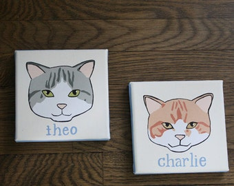 Custom Cat Paintings – 'Simplified' Style (Charlie & Theo)