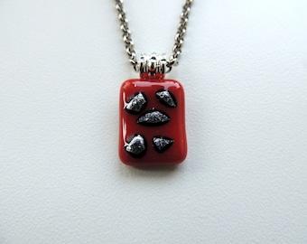 fused glass necklace,red necklace,red glass necklace,silver stars,dichroic pendant,glass pendant,glass jewelry, fused jewelry,glass pendant