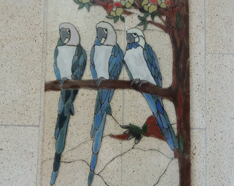 Fused glass panel,home decor,wall panel,Parrot panel,glass panel,Parrot glass wall panel
