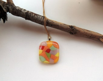 fused glass necklace,abstract pendant,glass pendant,pendant necklace,unique glass pendant,gift for her,Halloween gift,orange necklace