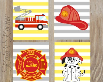 FIREFIGHTER Decor - Firefighter Decor - Firefighter Playroom - Firefighter Wall Art - Playroom Art - Fireman Unframed Print Set