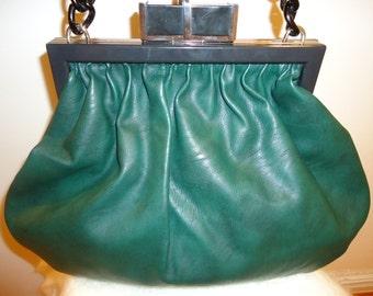 Beautiful Dark Green Leather Frame Handbag (10% Off Coupon at Checkout)