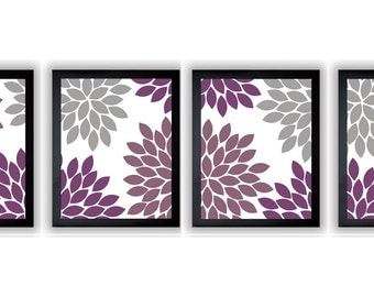 Flower Print Grey Gray Purple Plum Chrysanthemum Flowers Set of 4 Art Print Wall Decor Modern Minimalist Bathroom Bedroom