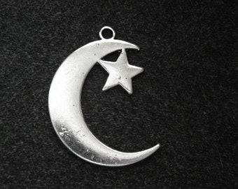 Large Silver Star and Crescent Charm Pendant