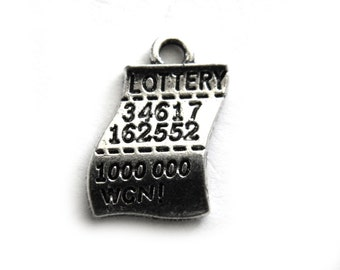 6 Silver Winning Lottery Ticket Charms