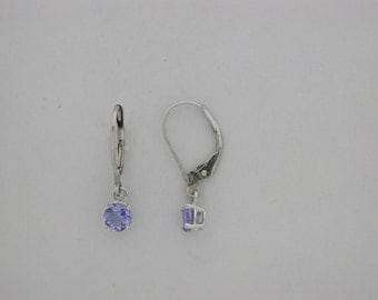 Genuine Tanzanite Dangle  Earring Solid 14kt White Gold