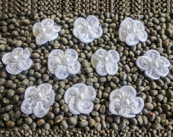 Miniature Woven White Rosettes with Pearl Center