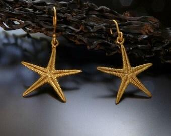 Gold Starfish Earrings, Sea Star Earrings, 24K gold plated dangle earring, Everyday jewelry