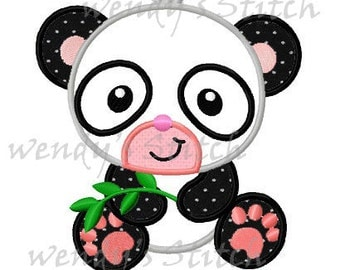 Panda with bamboo machine embroidery applique design