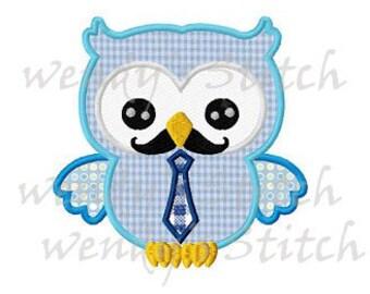 Owl with necktie machine embroidery design applique instant download