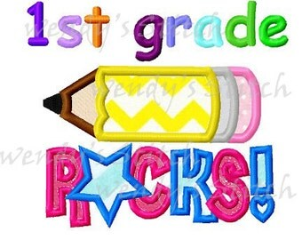 1st grade rocks applique school pencil machine embroidery design