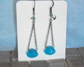 Milky Blue and Sterling Silver Dangle Earrings