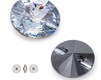 10mm Swarovski 3015 Sew On Rivoli Button, Crystal, Crystal AB, Jet by 4 pcs, SW-3015BT