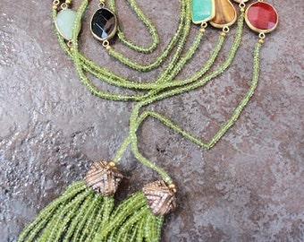 "PERIDOT /Mixed Semi Precious Stones and Bronze LARIAT, 77"" LONG Gorgeous!!!"