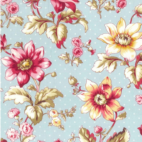 Stonehill Collection - Reflections, Aqua Dot Background Floral, Sewing Fabric, Quilting Material, Rose, Pink, Gold, Saffron, Olive, F2022
