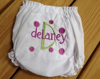 Monogrammed White Eyelet Diaper Cover Fancy Pants